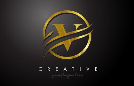 Création de logo de lettre d'or V avec cercle Swoosh et texture en métal doré. Creative Metal Gold V Lettre Design Illustration vectorielle.