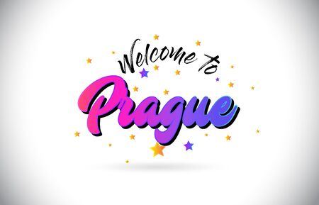 Prague Welcome To Word Text with Purple Pink Handwritten Font and Yellow Stars Shape Design Vector Illusration.