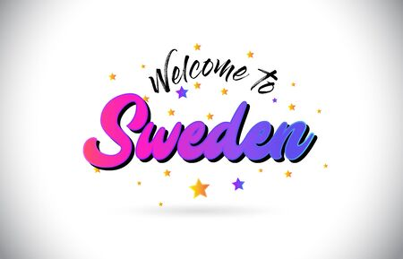 Sweden Welcome To Word Text with Purple Pink Handwritten Font and Yellow Stars Shape Design Vector Illusration.