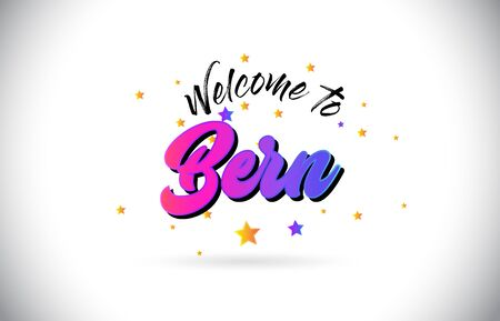 Bern Welcome To Word Text with Purple Pink Handwritten Font and Yellow Stars Shape Design Vector Illusration.