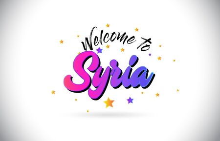 Syria Welcome To Word Text with Purple Pink Handwritten Font and Yellow Stars Shape Design Vector Illusration.