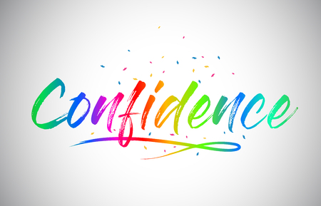 Confidence Creative Word Text with Handwritten Rainbow Vibrant Colors and Confetti Vector Illustration. Vetores