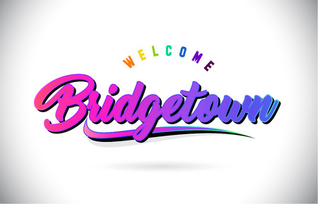 Bridgetown Welcome To Word Text with Creative Purple Pink Handwritten Font and Swoosh Shape Design Vector Illustration.