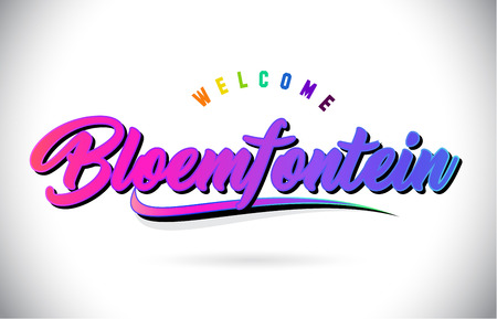 Bloemfontein Welcome To Word Text with Creative Purple Pink Handwritten Font and Swoosh Shape Design Vector Illustration.