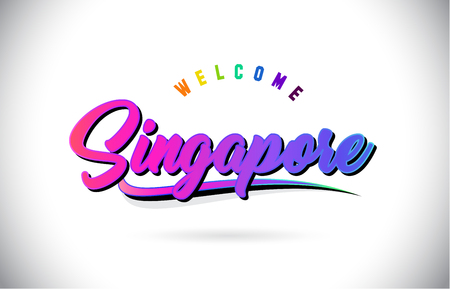 Singapore Welcome To Word Text with Creative Purple Pink Handwritten Font and Swoosh Shape Design Vector Illustration. Ilustracja