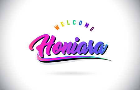 Honiara Welcome To Word Text with Creative Purple Pink Handwritten Font and Swoosh Shape Design Vector Illustration. Illustration