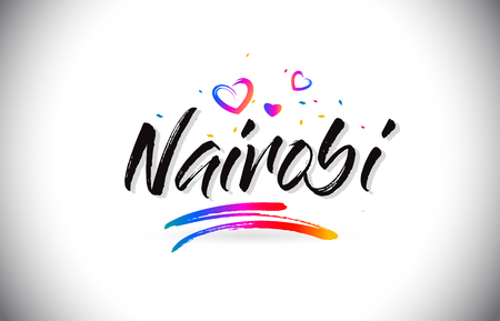 Nairobi Welcome To Word Text with Love Hearts and Creative Handwritten Font Design Vector Illustration. Stok Fotoğraf - 118220239