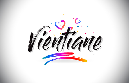 Vientiane Welcome To Word Text with Love Hearts and Creative Handwritten Font Design Vector Illustration. Stok Fotoğraf - 118220250