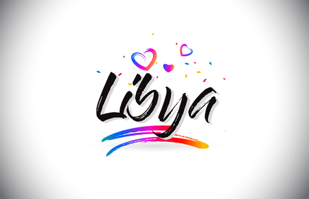 Libya Welcome To Word Text with Love Hearts and Creative Handwritten Font Design Vector Illustration. Stok Fotoğraf - 118220259
