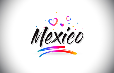 Mexico Welcome To Word Text with Love Hearts and Creative Handwritten Font Design Vector Illustration. Stok Fotoğraf - 118220306