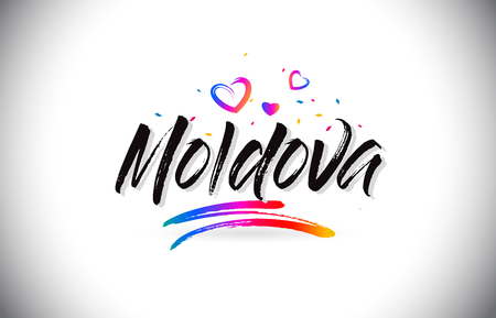 Moldova Welcome To Word Text with Love Hearts and Creative Handwritten Font Design Vector Illustration. Ilustración de vector