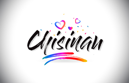 Chisinau Welcome To Word Text with Love Hearts and Creative Handwritten Font Design Vector Illustration. Çizim