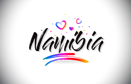 Namibia Welcome To Word Text with Love Hearts and Creative Handwritten Font Design Vector Illustration.