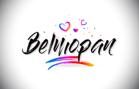 Belmopan Welcome To Word Text with Love Hearts and Creative Handwritten Font Design Vector Illustration. 向量圖像