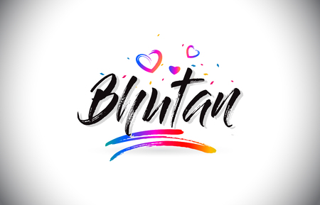 Bhutan Welcome To Word Text with Love Hearts and Creative Handwritten Font Design Vector Illustration.