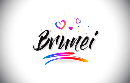 Brunei Welcome To Word Text with Love Hearts and Creative Handwritten Font Design Vector Illustration. Çizim