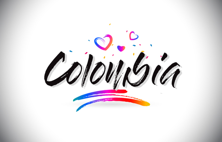Colombia Welcome To Word Text with Love Hearts and Creative Handwritten Font Design Vector Illustration.