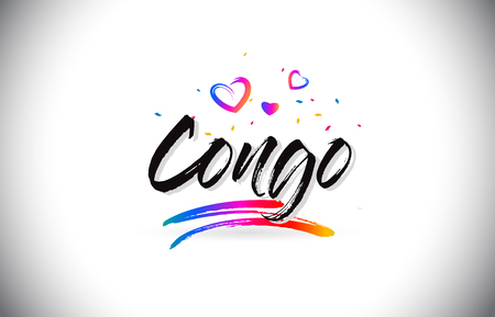 Congo Welcome To Word Text with Love Hearts and Creative Handwritten Font Design Vector Illustration. Stok Fotoğraf - 118220407