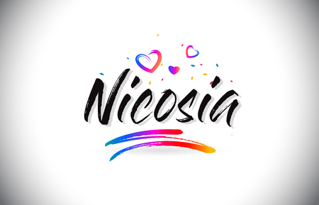 Nicosia Welcome To Word Text with Love Hearts and Creative Handwritten Font Design Vector Illustration.