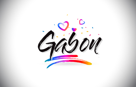 Gabon Welcome To Word Text with Love Hearts and Creative Handwritten Font Design Vector Illustration.
