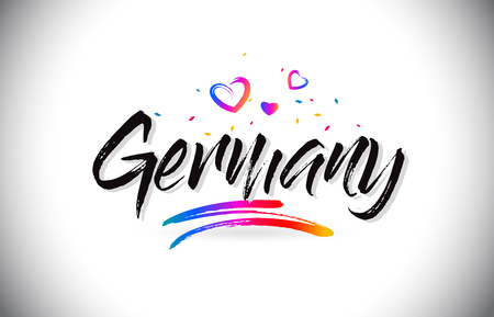 Germany Welcome To Word Text with Love Hearts and Creative Handwritten Font Design Vector Illustration. Çizim