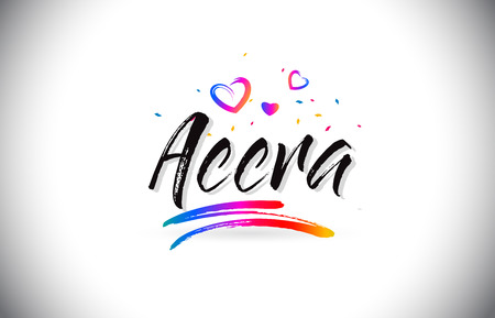 Accra Welcome To Word Text with Love Hearts and Creative Handwritten Font Design Vector Illustration. Stok Fotoğraf - 118220471
