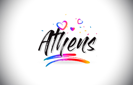 Athens Welcome To Word Text with Love Hearts and Creative Handwritten Font Design Vector Illustration.  イラスト・ベクター素材