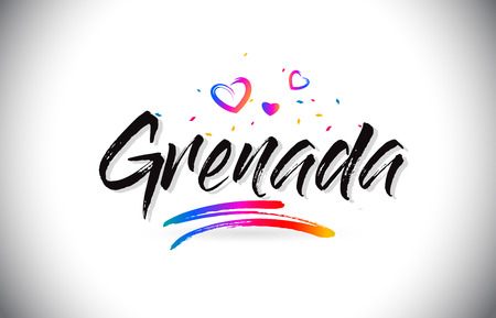 Grenada Welcome To Word Text with Love Hearts and Creative Handwritten Font Design Vector Illustration.