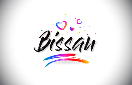 Bissau Welcome To Word Text with Love Hearts and Creative Handwritten Font Design Vector Illustration.