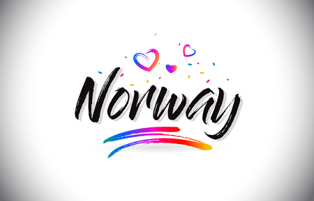 Norway Welcome To Word Text with Love Hearts and Creative Handwritten Font Design Vector Illustration. Stok Fotoğraf - 118220491