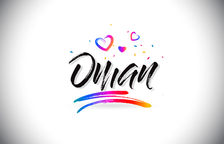 Oman Welcome To Word Text with Love Hearts and Creative Handwritten Font Design Vector Illustration. Stok Fotoğraf - 118220494