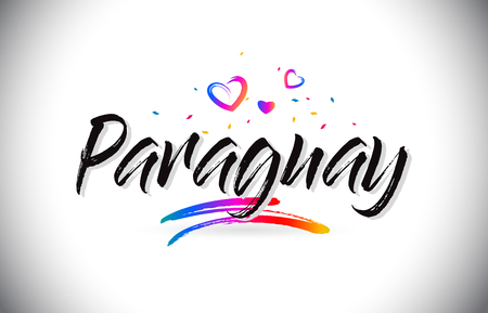 Paraguay Welcome To Word Text with Love Hearts and Creative Handwritten Font Design Vector Illustration.