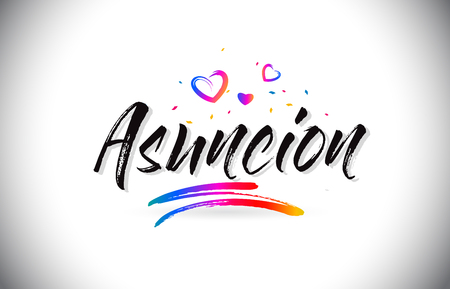 Asuncion Welcome To Word Text with Love Hearts and Creative Handwritten Font Design Vector Illustration. Çizim