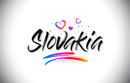 Slovakia Welcome To Word Text with Love Hearts and Creative Handwritten Font Design Vector Illustration. Stok Fotoğraf - 118220555