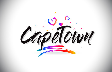 CapeTown Welcome To Word Text with Love Hearts and Creative Handwritten Font Design Vector Illustration. Illustration