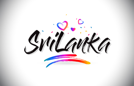 SriLanka Welcome To Word Text with Love Hearts and Creative Handwritten Font Design Vector Illustration. Stok Fotoğraf - 118220577