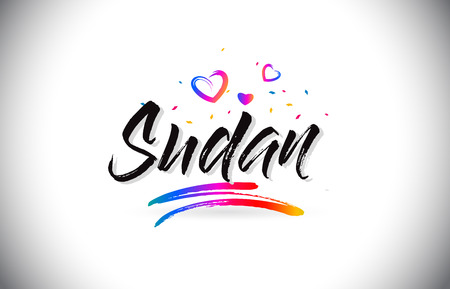 Sudan  Welcome To Word Text with Love Hearts and Creative Handwritten Font Design Vector Illustration. Stok Fotoğraf - 118220576