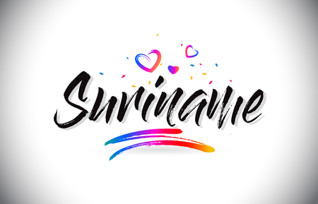 Suriname Welcome To Word Text with Love Hearts and Creative Handwritten Font Design Vector Illustration. Stok Fotoğraf - 118220580