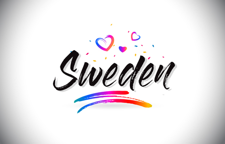 Sweden Welcome To Word Text with Love Hearts and Creative Handwritten Font Design Vector Illustration. Stok Fotoğraf - 118220583