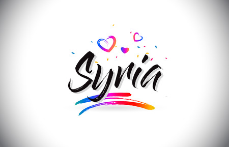 Syria Welcome To Word Text with Love Hearts and Creative Handwritten Font Design Vector Illustration.