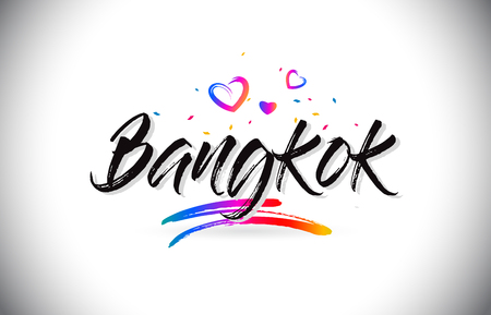 Bangkok Welcome To Word Text with Love Hearts and Creative Handwritten Font Design Vector Illustration. Ilustração