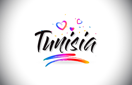Tunisia Welcome To Word Text with Love Hearts and Creative Handwritten Font Design Vector Illustration.