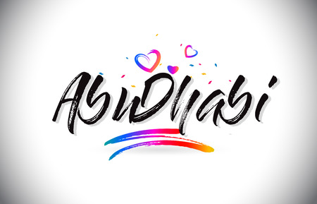 AbuDhabi Welcome To Word Text with Love Hearts and Creative Handwritten Font Design Vector Illustration.