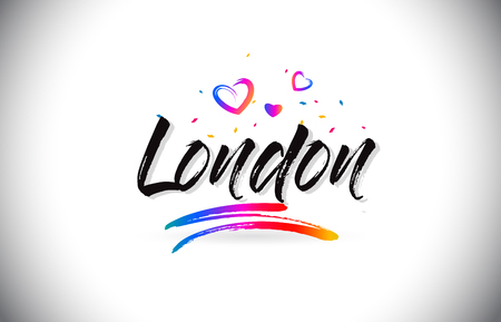 London Welcome To Word Text with Love Hearts and Creative Handwritten Font Design Vector Illustration. Çizim