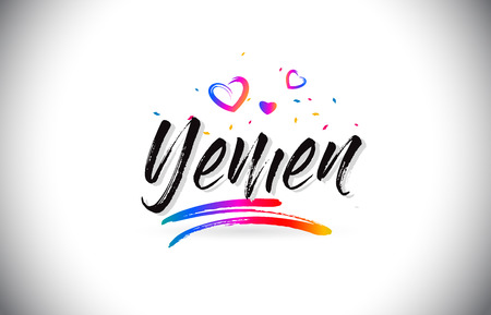 Yemen Welcome To Word Text with Love Hearts and Creative Handwritten Font Design Vector Illustration.