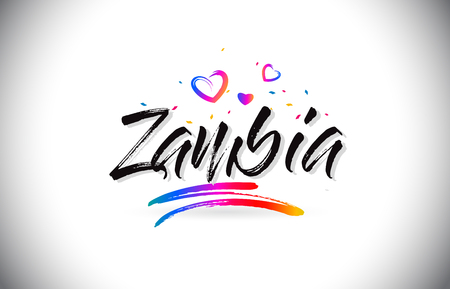 Zambia Welcome To Word Text with Love Hearts and Creative Handwritten Font Design Vector Illustration. Ilustração