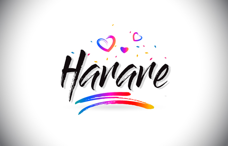 Harare Welcome To Word Text with Love Hearts and Creative Handwritten Font Design Vector Illustration. Çizim