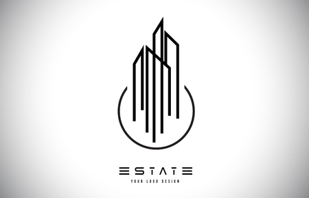 Real Estate Modern Monogram Logo Design. Real Estate Lines Abstract Buildings Icon Vector Illustration.
