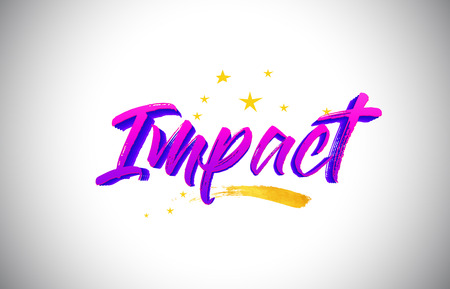 Impatto viola viola parola testo scritto a mano con colori vivaci e stelle coriandoli illustrazione vettoriale.
