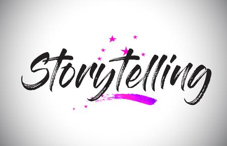 Storytelling Handwritten Word Font with Vibrant Violet Purple Stars and Confetti Illustration. Vektorové ilustrace